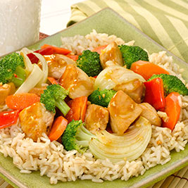 Brown Rice with Sizzling Chicken and Vegetables*
