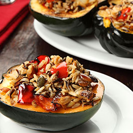 Brown and Wild Rice Stuffed Squash