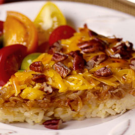Caramelized Onion, Smoked Gouda and Pecan Rice Tart